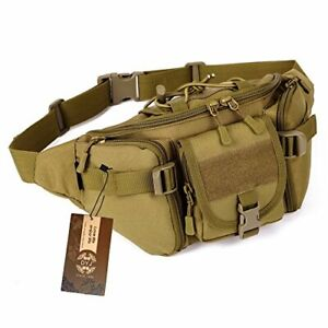 Multipurpose Molle Tactical Waist Bag Hip Pack Military Fanny Pack Coyote Brown