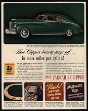 1942 PACKARD CLIPPER Green 4-Door Car - VINTAGE AD
