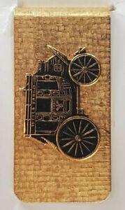 Vintage Wells Fargo Bank Stagecoach Money Clip - Gold Tone Banking Loan