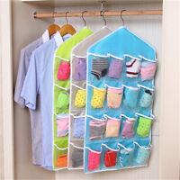 16 Pockets Clear Over Door Hanging Bag Shoe Rack Hanger Storage Tidy Organizer