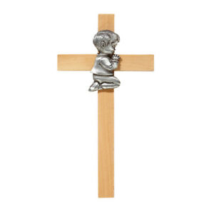 Praying Baby Boy Pewter First Cross