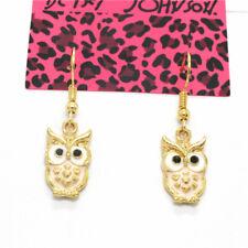 Betsey Johnson Pink Enamel Cute Owl Animal Crystal Women Stand Earrings