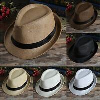 Mens Womens Beach Trilby Fedora Straw Cap Panama Wide Brim Beach Sun Hat Unisex
