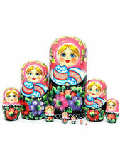 "Matryoshka 10,6 inch author's handmade 10 figures ""Slavic"" painted by the artist"