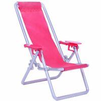 Dollhouse Furniture Foldable Deckchair Pink Lounge Beach Chair for 11.5-12 inch