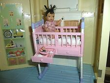 Barbie baby doll size nursery furniture diorama - rocking crib + toys