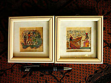 New listing Superb duo Genuine Egyptian Miniature Hand painted Papyrus in PaintedWood Frames