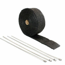 "Motorcycle Exhaust Heat Wrap Protection Black Header Tape 1"" X 50' Ties PIPE NEW"