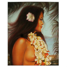 """Hawaiian Beauty #1"" (Woman w/ White Lei) By Anthony Sidoni Signed Oil Painting"