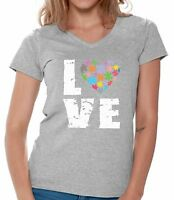 Love Puzzles Autism Awareness V-neck Shirts T shirts for Women  Women's Autistic