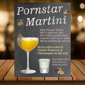 Pornstar Martini Cocktail Recipes Metal Wall Bar sign plaque pub beer garden ale