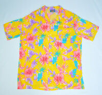 VTG Hawaii Blues Yellow Pink Blue Hibiscus Foliage Hawaiian Aloha Shirt Mens L