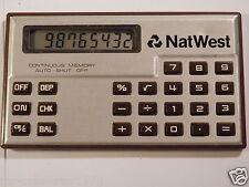 Rara Calculadora De Bolsillo Mini tarjeta de crédito NatWest Calculadora