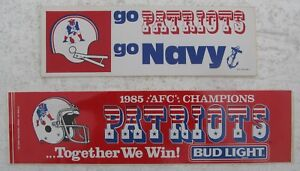 Two New England Patriots Bumper Stickers - 1985 AFC Chaps Bud Light, Go Navy