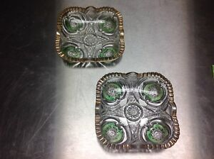 BEAUTIFUL SET OF VINTAGE CRYSTAL GLASS CANDY DISHES OR ASHTRAYS GREEN AND GOLD