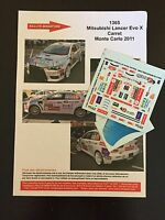 DECALS 1/43 MITSUBISHI LANCER CARRET RALLYE MONTE CARLO 2011 RALLY WRC
