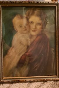 Vintage Framed Print 10X8 under glass, Mother and daughter,  Very good condition