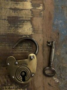 antique victorian padlock with key