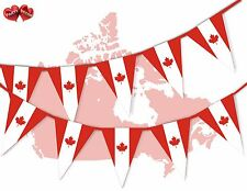 Canada Full Flag Patriotic Themed Bunting Banner 15 Triangle flags