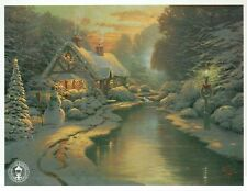 Christmas Evening - Winter Snow Man Tree Wreath -Thomas Kinkade Dealer Postcard