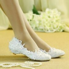 Wedding bridal shoes small heels low heels Pearls Sequins Lace  size 5-11