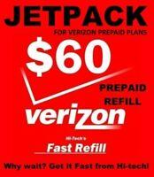 $60 VERIZON PREPAID JETPACK REFILL 🔥 FAST 🔥 DIRECT TO MIFI 🔥 PLAN DATA REFILL
