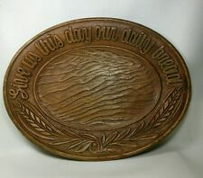 Vtg 1954 Multi Products Burr wood Dish Give Us This Day Our Daily Bread plate