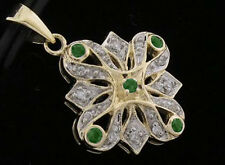 P057- Genuine 9ct 9K Solid Gold NATURAL Diamond & Emerald Pendant Vintage style