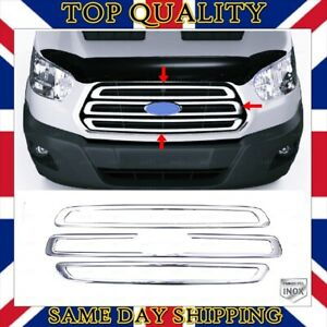Chrome Front Grill 3 pcs Stainless STEEL For Ford Transit MK8 from 2013 to 2018