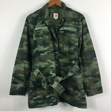 Gap Camo Women's Military Jacket Size Small Green Waist Tie Long sleeve pockets
