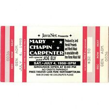 MARY CHAPIN CARPENTER & JOE ELY Concert Ticket Stub 7/4/98 NORTHAMPTON MA Rare