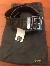 Fendi FF Logo Reversible Adjustable Tobacco Belt