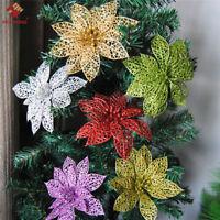 10Pcs Glitter Hollow Wedding Party Decor Christmas Flowers Xmas Tree Decorations
