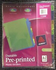 Avery Plastic Preprinted Tab Dividers, 8.5 x 11 Inches, A-Z Tab, Multi-Color