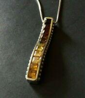 Brighton Spectrum Brown Topaz Bar Crystal Silver Necklace ~ Brand New  NWOT