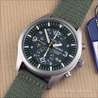Seiko SNDA27P1 Green Chronograph Military Quartz 43mm 100M W.R. SNDA27