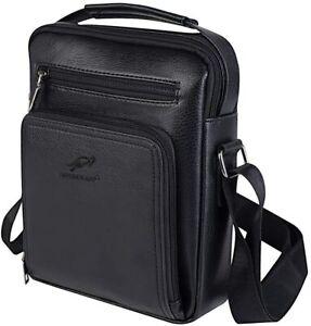 Mens Shoulder Bag,Messenger PU Leather Crossbody Satchel Bag