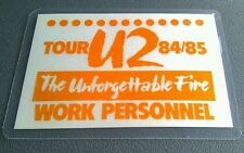 1984-85 U2 The Unforgettable Fire Backstage Pass Working