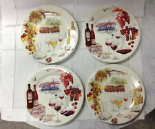 """GIEN """"BOUQUET"""" RED/WHITE WINE DESSERT PLATES (SET 4) 8 5/8"""" FRENCH FAIENCE NEW"""