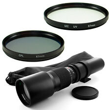 500mm Telephoto Lens + 67mm UV,CPL Filters for Canon EOS Kiss Digital Rebel T3i
