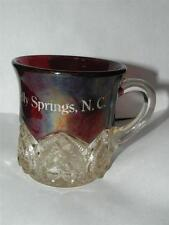 ANTIQUE EAPG RUBY STAINED FLASHED HEART BAND MUG NORTH CAROLINA GLASS SOUVENIR