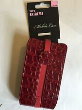 Apple iPhone 4,4S Universal Vertical Slip-in Mag-Latch Leather Pouch SEC-VCLXLRD