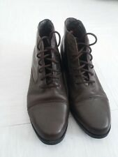 Sporto Ladies Brown Ankle Leather Boots Round Toe Laces Non Slip UK Size 7.5
