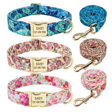 Floral Personalized Dog Collar and Leash Engraved ID Name Tags Custom Adjustable
