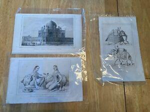 Views of India 1873 - 5 Original Antique Prints Lemaître Direxit
