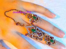 Due Anelli Dito, doppio Anelli Dito, Full Finger Ring, Boho, Gotico, Gypsy, Bohemian