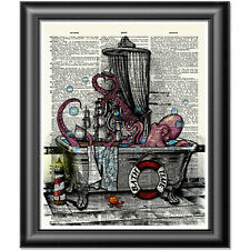 Octopus Art Print on Dictionary Book Page Wall Art Bathroom Decor Picture