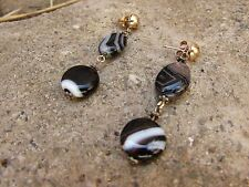 Black White Agate Genuine Stone Drop Earrings Silver Plate Striped Irregular