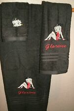 Betty Boop sexy side Personalized 3 Piece Bath Towel Set  Your Color Choice