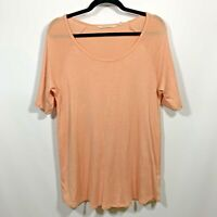 Soft Surroundings  Pullover Top Tunic Scoop Neck Knit Size Small Peach S/Sleeves